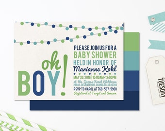 Lime And Navy Baby Shower Invitation - Blue Green Baby Shower Invitation - Baby Boy Shower Lime And Navy - Baby Shower Invitation Boy - Blue