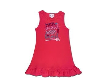 Hot Pink 'Mermaid at Heart' Frill Tank Dress