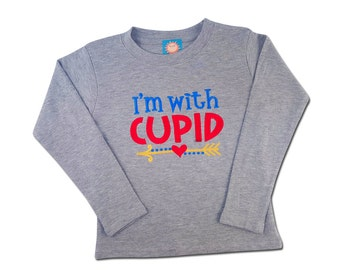 Boy's 'I'm With Cupid' Valentine Shirt with Embroidered Name