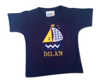 Boy's Nautical Sailboat Birthday Shirt with Embroidered Name