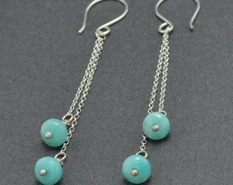 Sterling Silver Dangle Earrings, Silver Chain Earrings, Amazonite Earrings, Blue Earrings, Gemstone Earrings