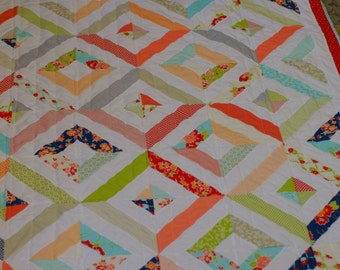 Modern patchwork quilt, throw quilt, lap quilt, lap blanket, miss kate, bonnie & camille fabric, moda fabric, red quilt, blue quilt, green