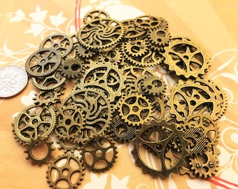 40 New Medium Large Small Steampunk Gears Cogs Buttons Wheels Watch Parts Sprocket Altered Art Brass Charms Jewelry Gothic Supplies Crafts