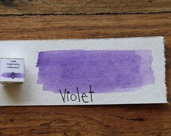 Violet , Half-Pan, Handmade Watercolor Paint, Travel Watercolors