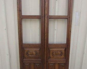 Antique Pair Mexican Carved Old Doors-Primitive-Rustic-36x75-Gorgeous--Weathered Patina-Tall-Room Dividers-Free Shipping