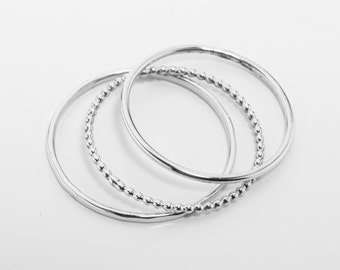 Narrow silver ring with hammer blow structure - 1 mm