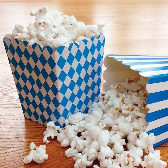 Mini Blue Harlequin Popcorn Boxes 6 Small by CrankyCakesShop