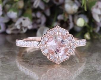 14k Rose Gold Morganite Engagement Ring Mini Vintage Floral Ring in Milgrain Diamond Wedding Band 6x6mm Cushion Cut Color Gemstone Ring