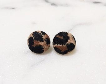 Leopard Print Button Earrings