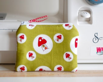 Handmade Fabric Zipped Coin/Change Purse Fully Lined - Boys - Girls - Ladies - Toadstools