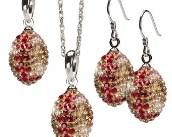 Gold with Crimson Striped Crystal Football Pendant Jewelry Set of Three