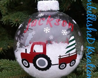 Personalized 2017 Boy's Christmas Ornament/Tractor/2017 Ornament