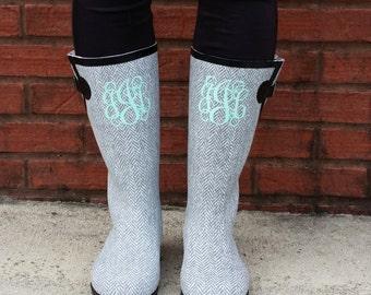Monogrammed Boots Monogram Herringbone Rain Boots