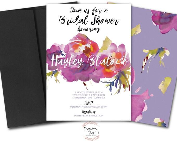 Purple Bridal Shower Invitation // Purple Flowers // Brunch and Bubbly Invitation // Purple // Lavender // Green // VANCOUVER COLLECTION