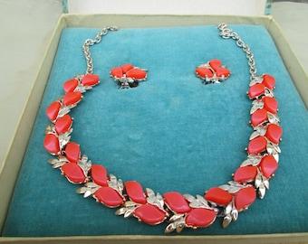 Vintage Mona Lisa Orange Necklace Earrings MoonGlow Set Demi Parure ,Original Box