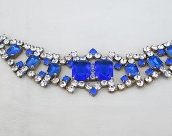 Vintage Cobalt Blue Czech Glass Rhinestone Bracelet