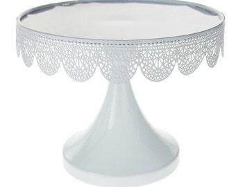 Metal Pedestal Eyelit Cake Stand, 6-3/4-inch, White
