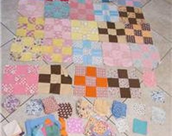 24 Vintage 9-Patch Quilt Blocks-Hand Stitched-Additional Lot of Pre-Cut Squares-Feed Sack Material-Approx 6 Additional Blockss