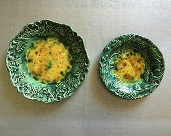 Vintage Set of 2 Wall Plate Green Tortoise Shell