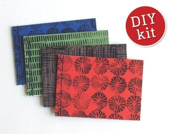 DIY Bookbinding Kit  Four Japanese Style Booklets. Craft Kit Four Japanese Sketchbooks. Includes materials and easy to follow instructions.