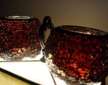 Mosaic Glass; Votive Candle Holders; Set of Two; Broken Glass; Sparkle Glass; Approx. 3 x 3.5 Inches; Very Nice !!!