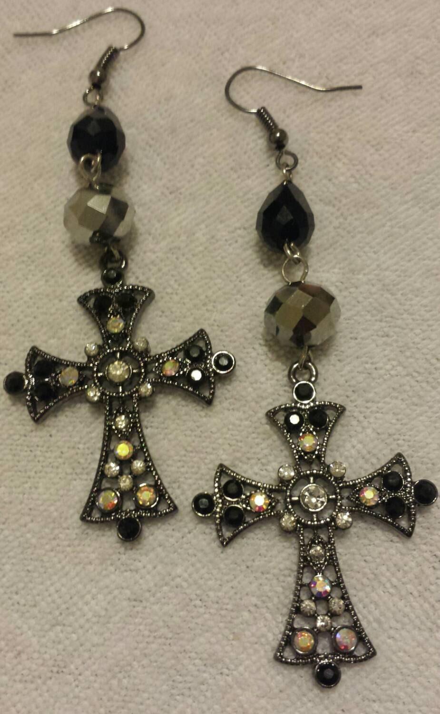Black Cross Dangle Earrings Rhinestone Cross Earrings