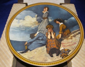 Norman Rockwell Rediscovered Women Collectible Plate, Waiting On The Shore