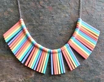 Pastel Rainbow stripe statement necklace - laser cut acrylic necklace