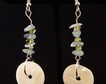 Mother of Pearl with Aquamarine and Peridot Earrings