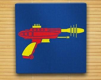 "Pyrotomic Disintegrator Raygun - Hand Stenciled Canvas - 12"" x 12"" - Retro Sci Fi Ray Gun"