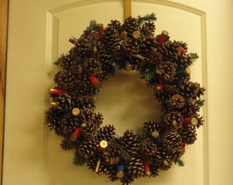 "24"" Shotgun Shell Pinecone Wreath"