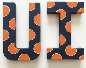 University of Illinois handpainted polka dot college letters