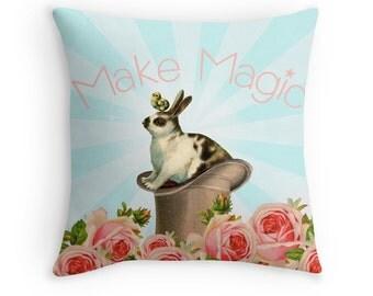 Magic Decor, Rabbit Lover Gift, Cute Cushions, Cute Pillow, Inspirational Gifts, Girls Room Decor, Whimsical Cushion, Whimsical Pillow,Bunny