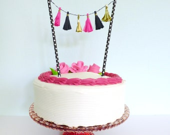 Tassel Cake Topper - Hot Pink Black and Gold Cake Topper - Paris Themed Cake Topper