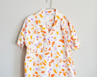 Vintage Shirt, Med, Orange and Purple