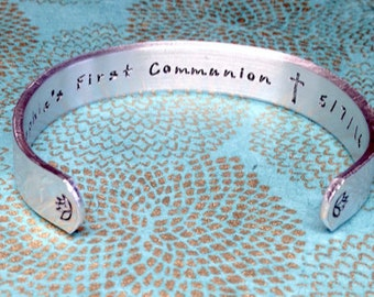 First Communion Gift | Baptism gift | Godchild Gift | First Communion (Date) | Customized Hand Stamped Bracelet Made by mishka