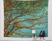 SALE wall tapestry, oversized wall art, forest tapestry, tree tapestry, bohemian wall tapestry, nature tapestry, green tapestry abstract