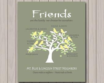 Gifts for Friends - Neighbors Gift -  Personalized Art Print with Your Friends/Neighbors Names - Moving Away Gift - Any Color Available