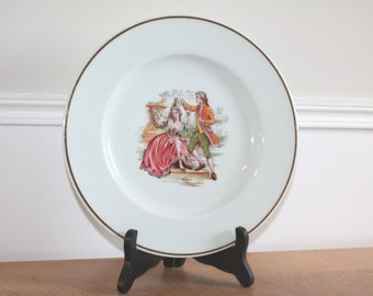 Limoges Fragonard, Collectible Plate, Marie Antoinette, Louis XVI, Dinner Plate, Serving Plate, Gold Leaf, Bone China, Signed Plate