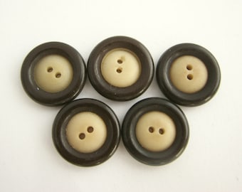 5 Small buttons, brown and beige tagua nut buttons, vintage vegetable ivory buttons from 1940s!