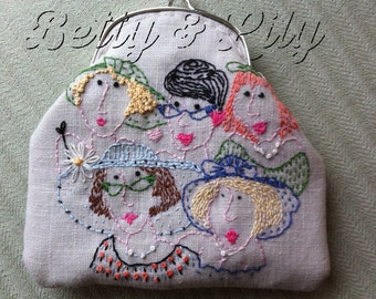 Vintage Ladies Faces Purse or Glasses Case KIT