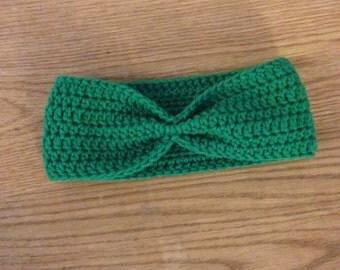 Green Headband | Green Earwarmer | Green Headwrap | Retro Headband | Cinched Headband