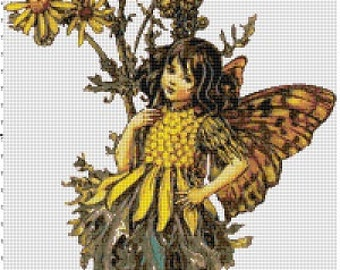 The Yellow Daisy Fairy - Vintage Cross Stitch Pattern - Instant Download