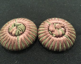 """Set of 2 unique beautiful vintage coat buttons - 1 5/8"""" wide - with back shank"""