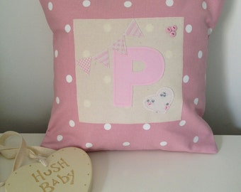 Personalised Initial Cushion - Girls