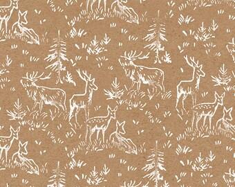 "Handmade White Deer Wrapping Paper: Kraft Gift Wrap Sheet with Retro Handprinted White Deer (70 cm x 50 cm / 27.5"" x 19.5"")"