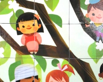 Multicultural Wood Blocks - Illustration Toy Puzzle from It's a Small World