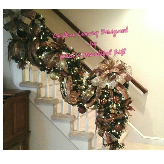 Christmas Staircase Garland Designer Luxury Lighted Stairway