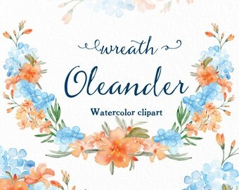 Wreath Oleander Watercolour clip art hand drawn. Romantic wedding, peachy Oleander and  blue hortensia flowers, invitations, watercolour