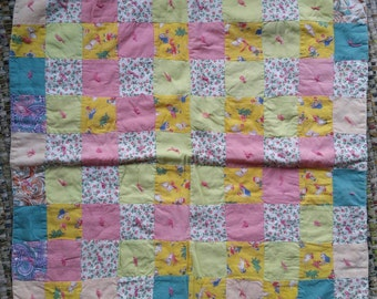 Vintage Doll Quilt Handmade Doll Blanket Vintage Quilt Small Quilt Handmade Quilt Nursery Decor Toy Quilt Patchwork Quilt
